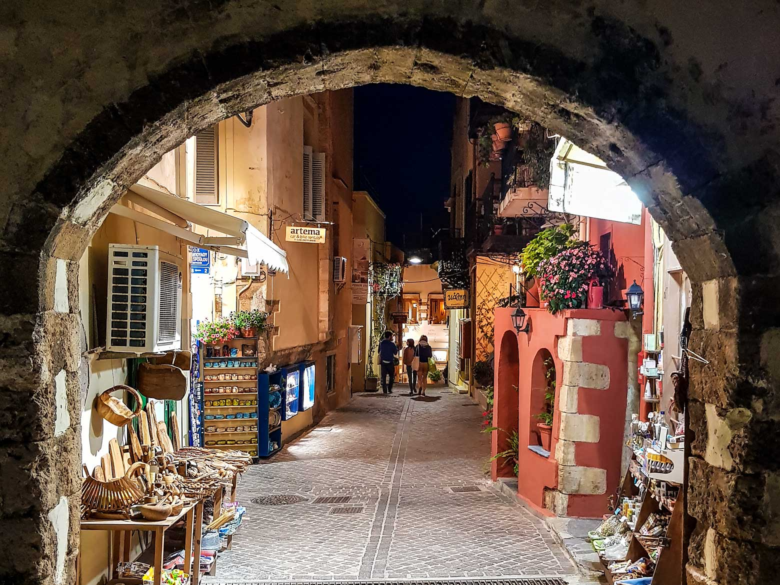 Crete Photo - old town of Chania at night