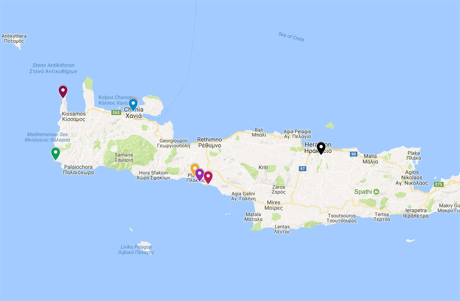 map of crete photo spots