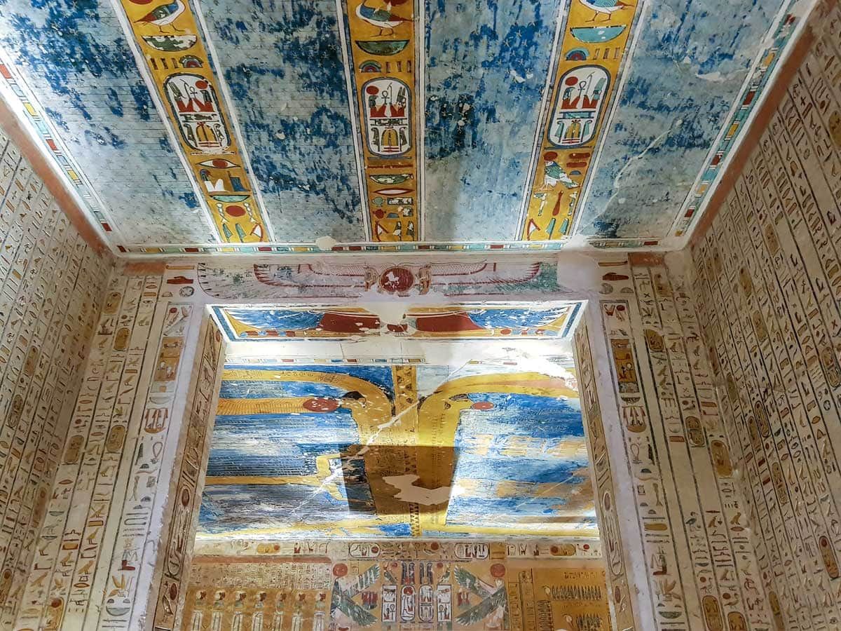 a colorful tomb inside the valley of the kings
