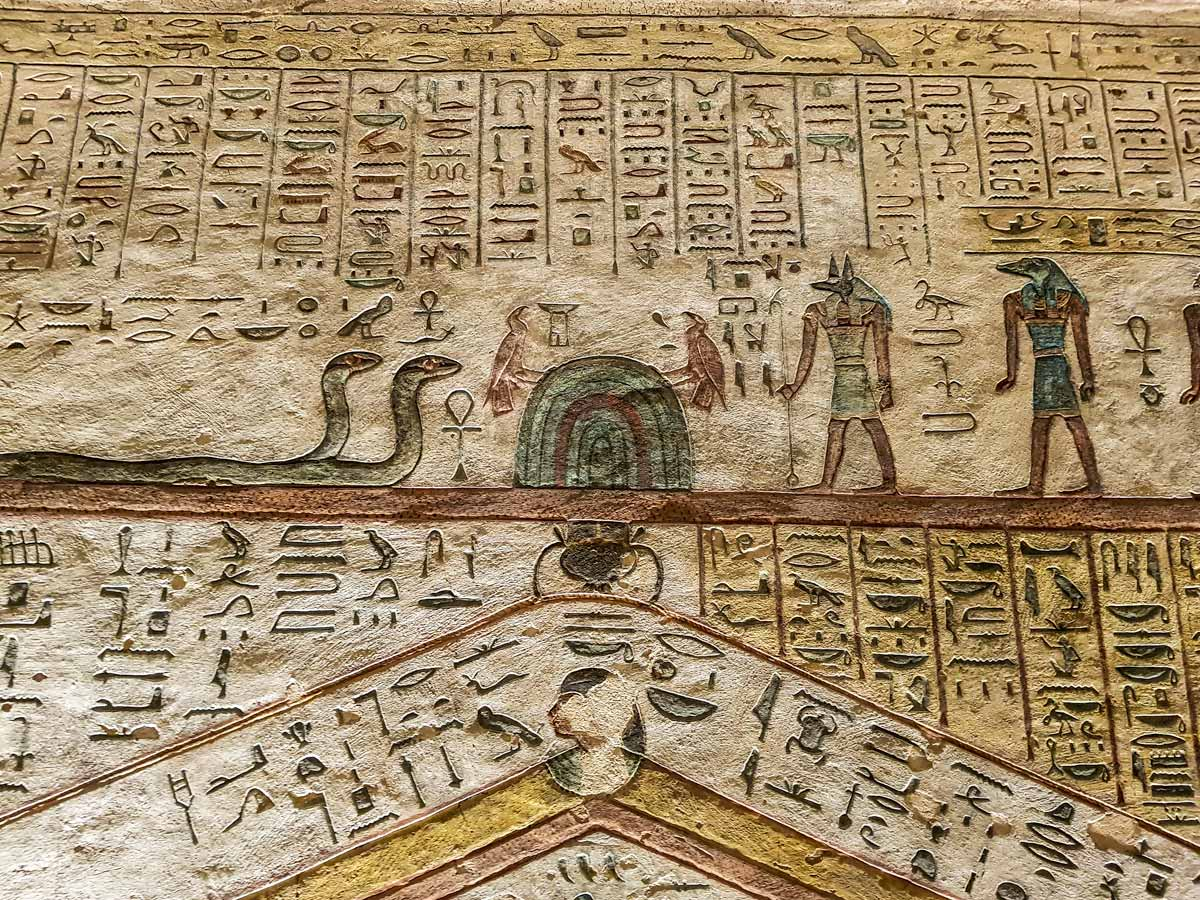 hieroglyphs inside the tomb of Ramses III