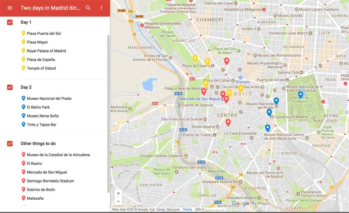 2 days in madrid itinerary map