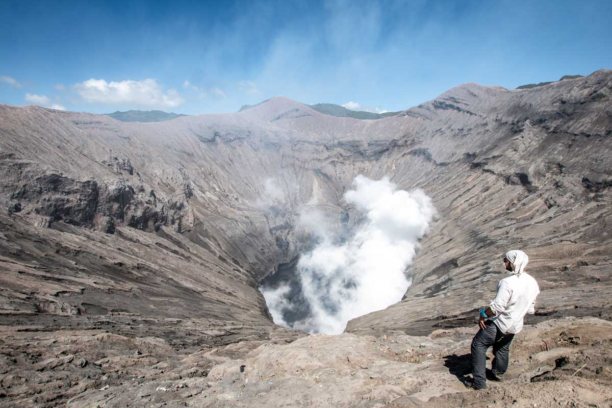 staring at the crater of Mount Bromo
