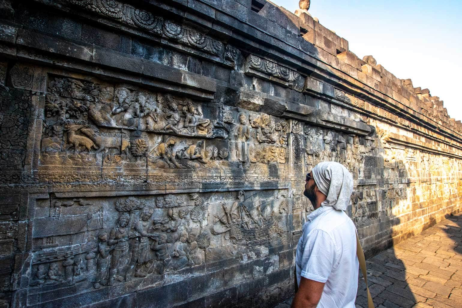 enjoying the art of borobudur at sunrise