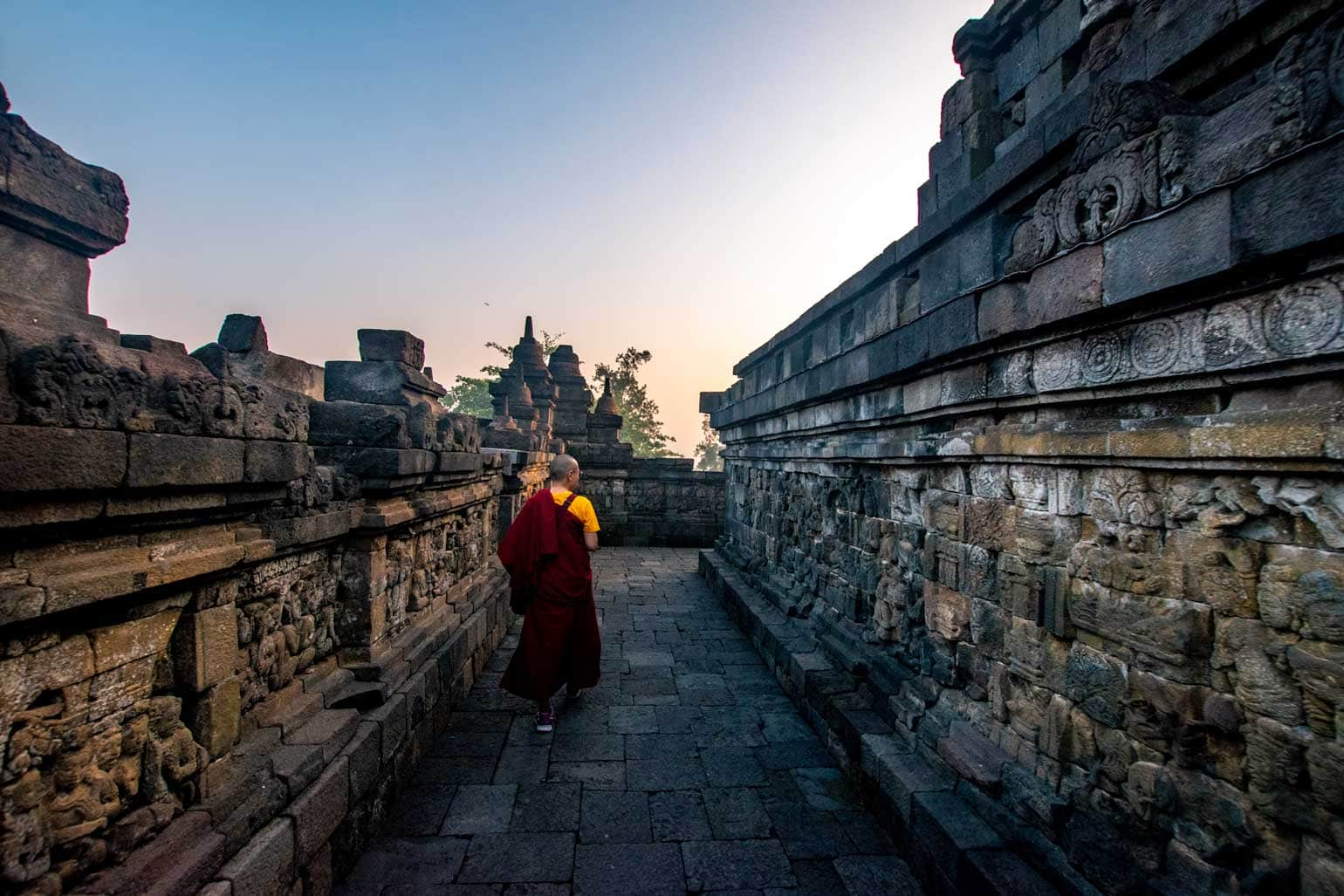 sunrise at Borobudur - lonely monk