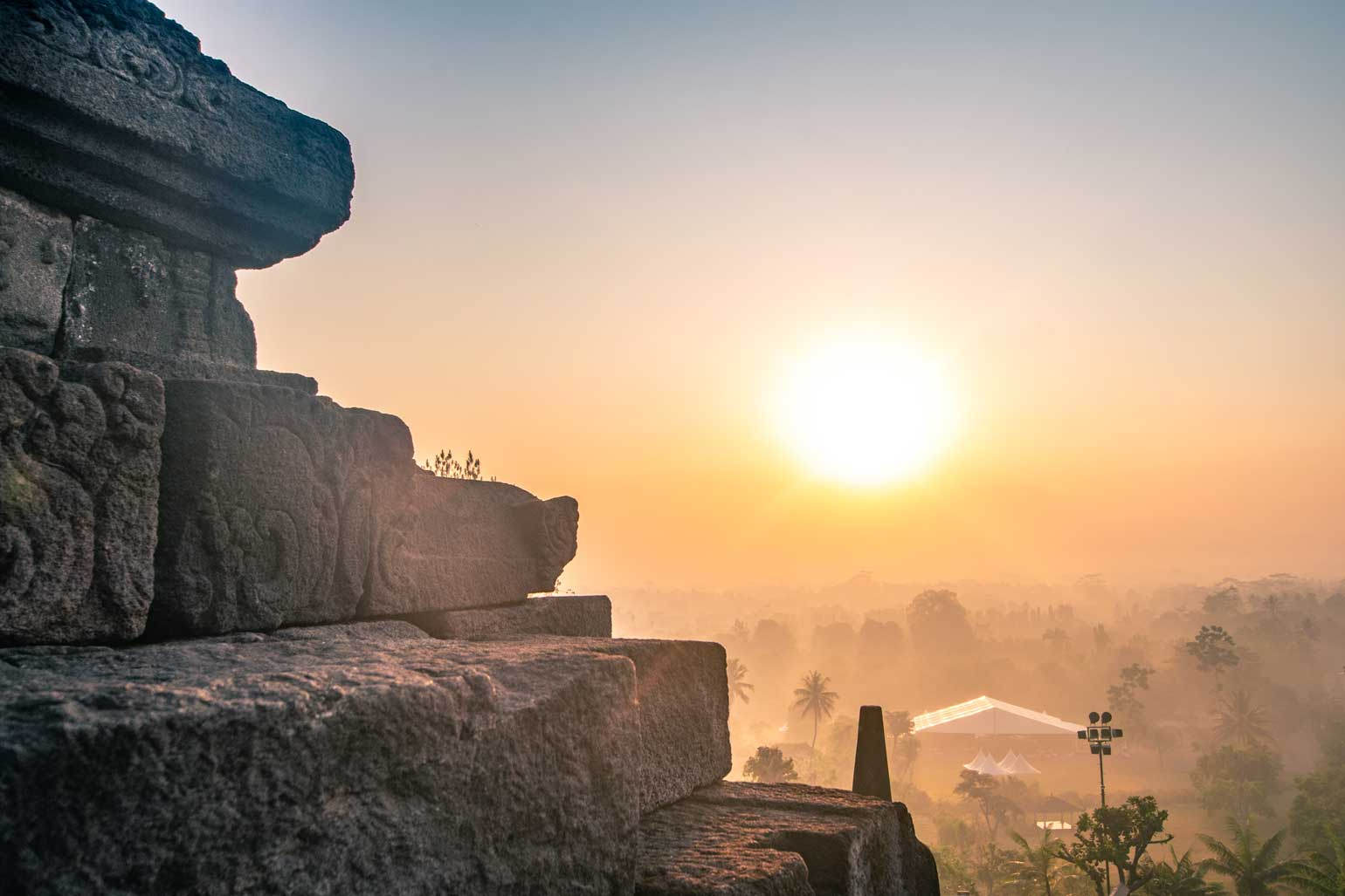 sunrise at Borobudur - panorama
