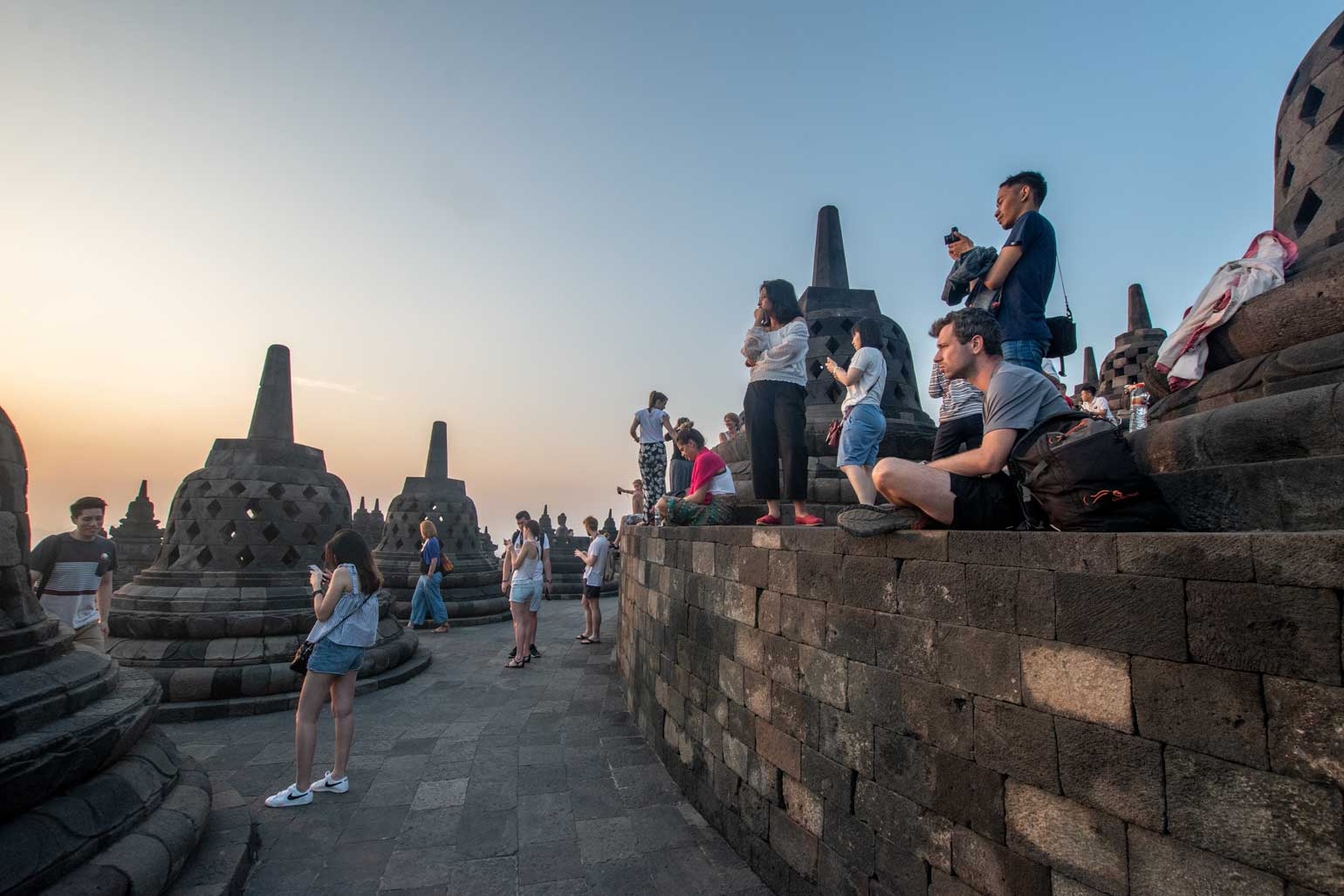 too many tourists in borobudur