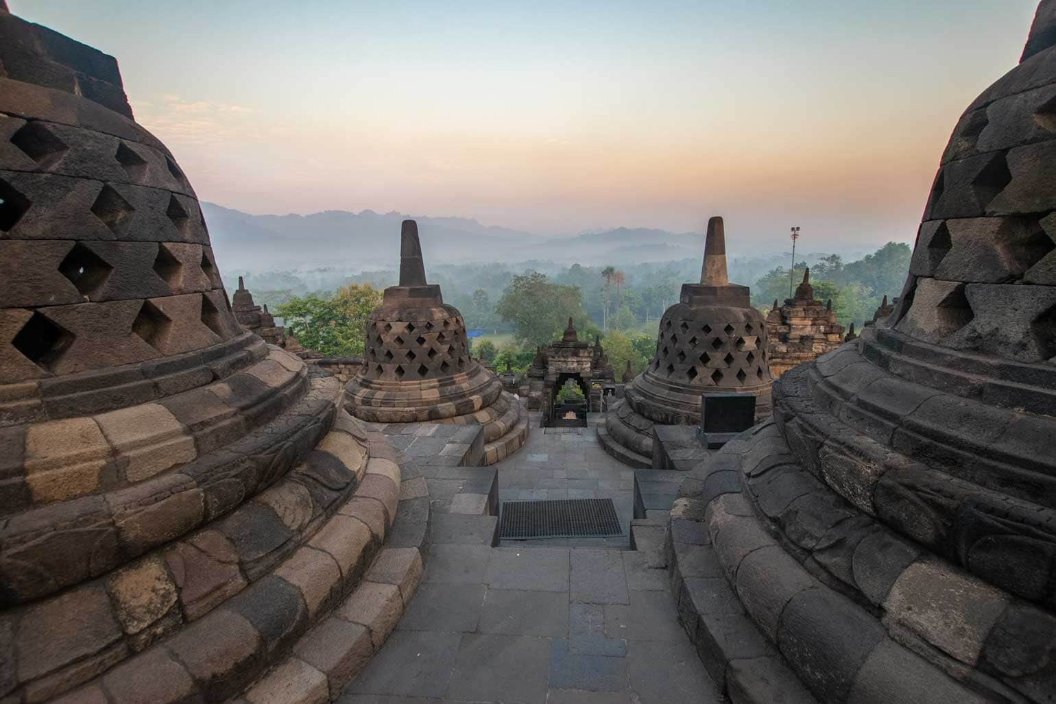 after sunrise at Borobudur