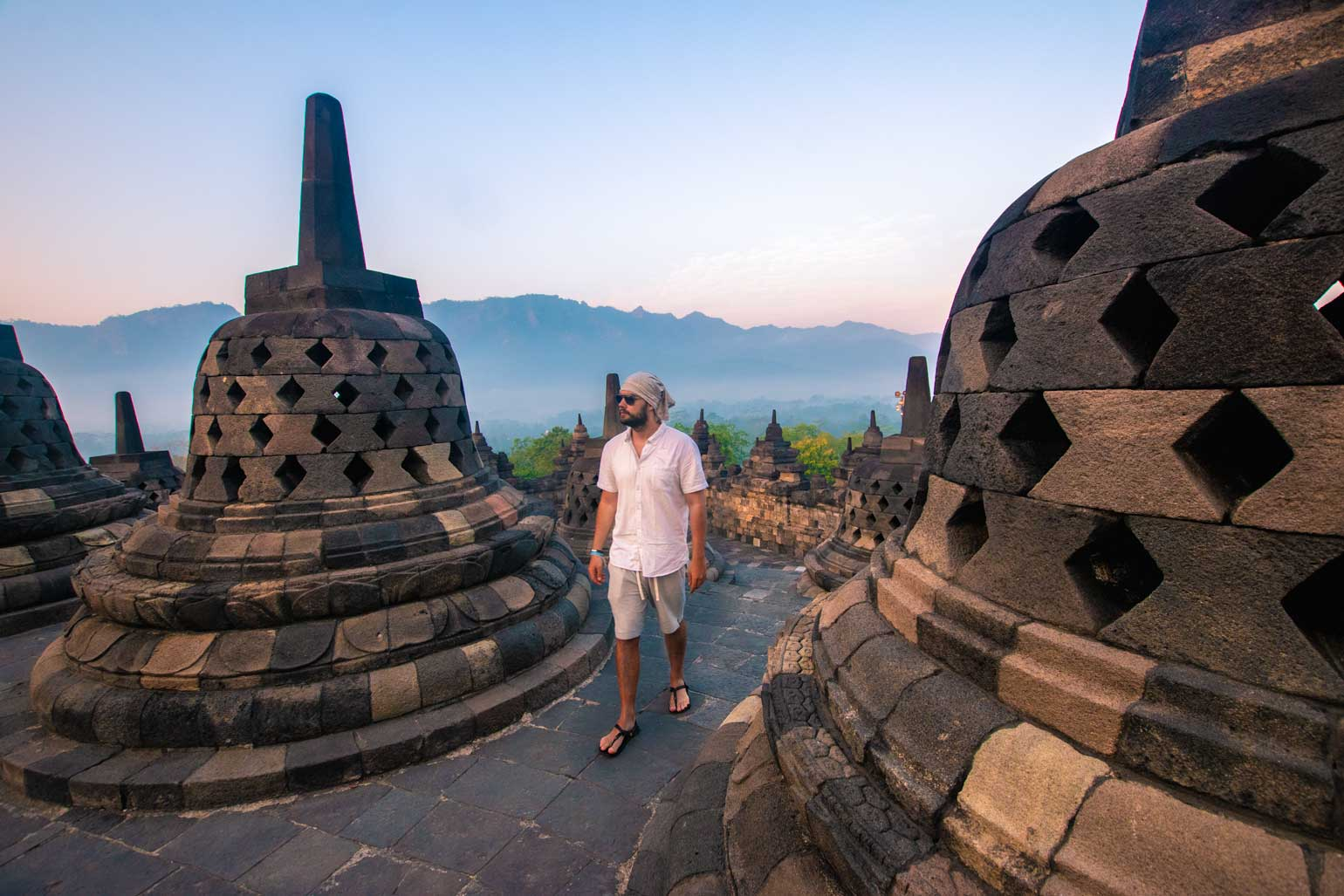 exploring the sunrise at Borobudur