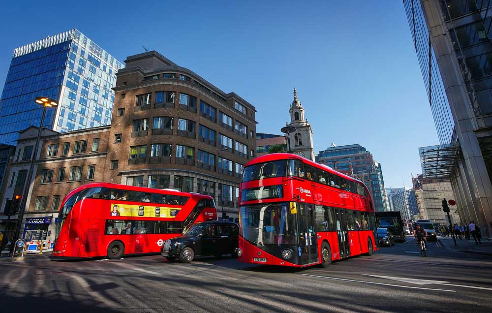 curious london fact - buses used to be all colors