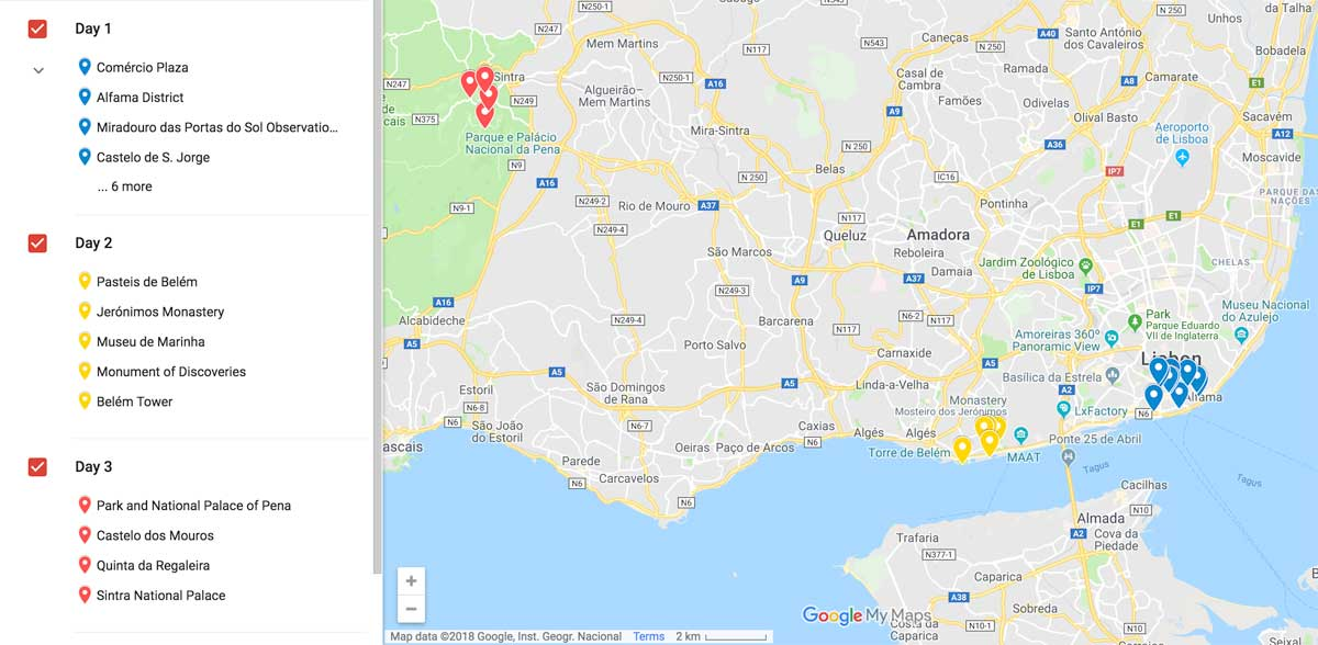 3 days in lisbon itinerary map