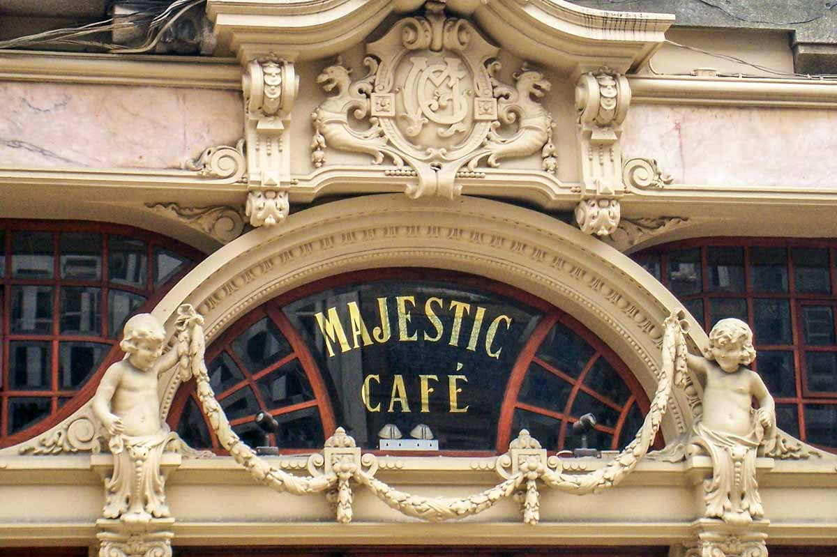 close up of cafe majestic sign