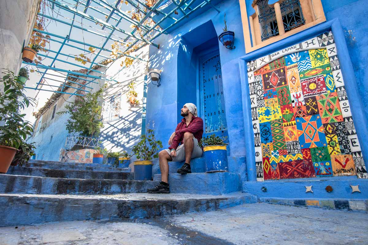 me in colorful chefchaouen