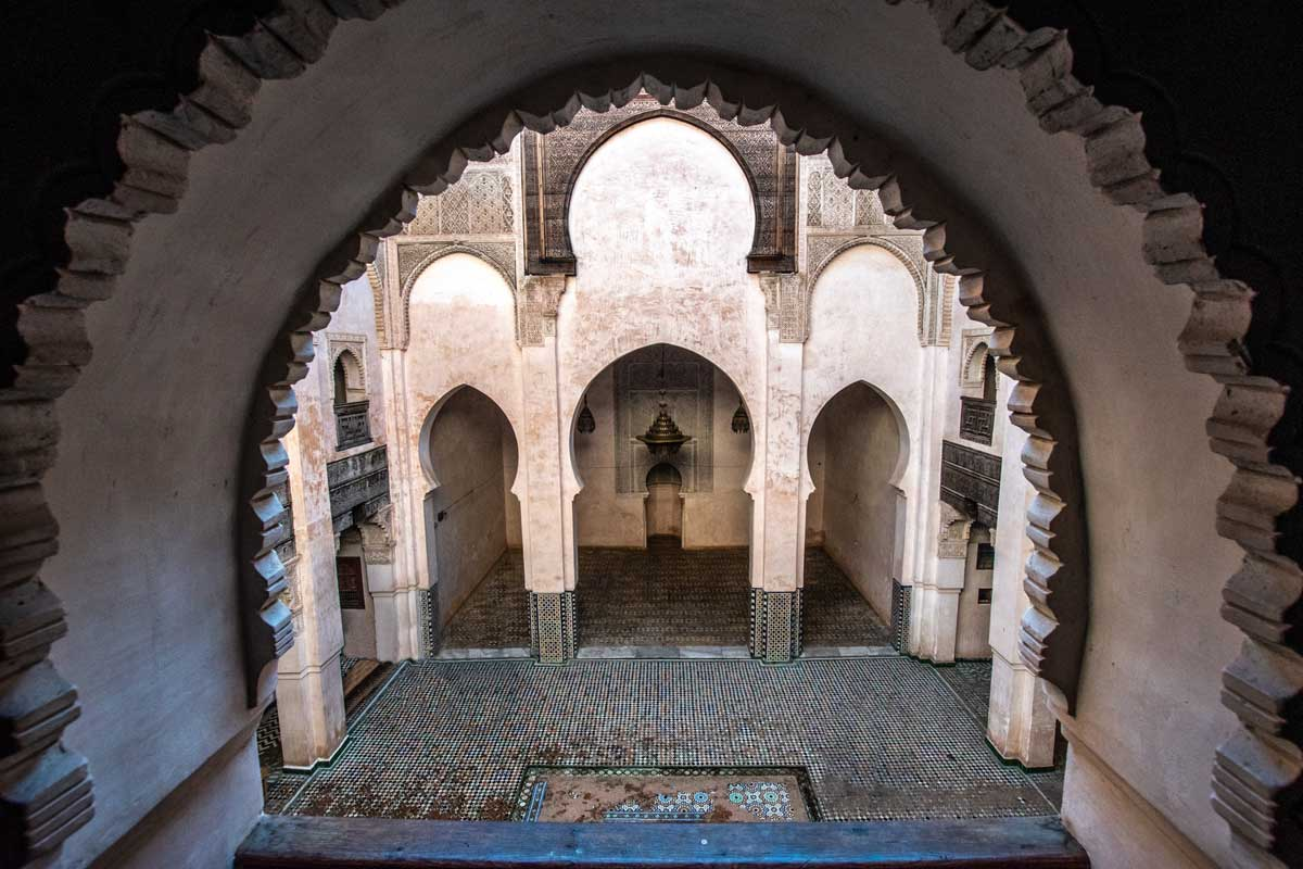 the al attarine madrasa view from an authentic window