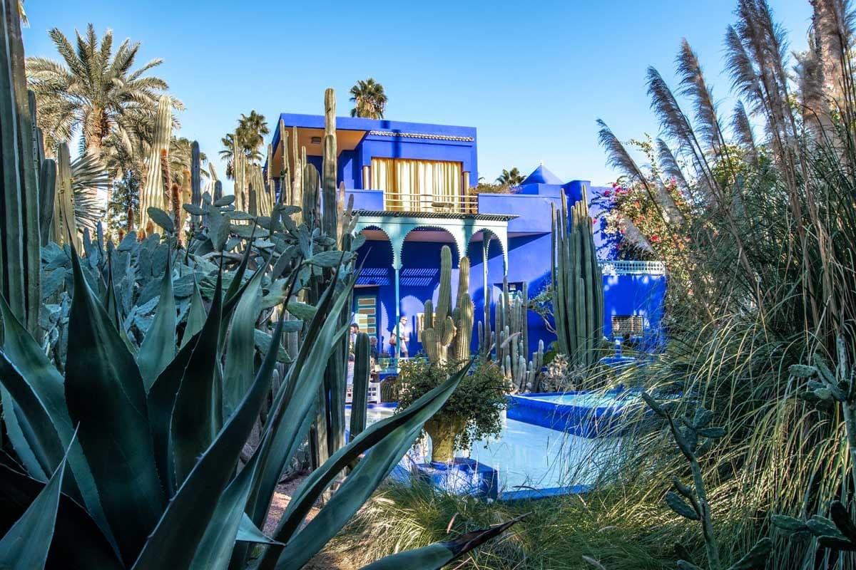 landmarks in Morocco - Jardine Majorelle blue building behind cactuses