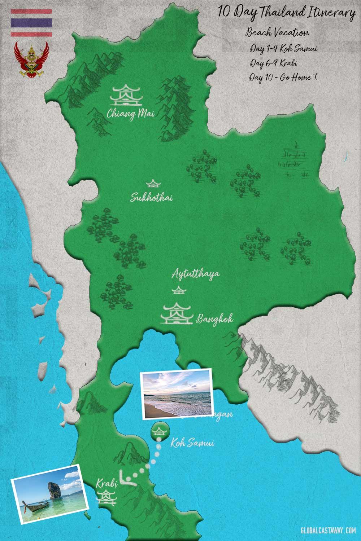 Thailand itinerary map - Beach Vacation