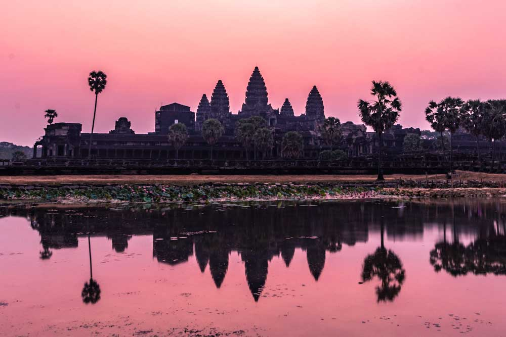 Sunrise view at Angkor Wat's left pond