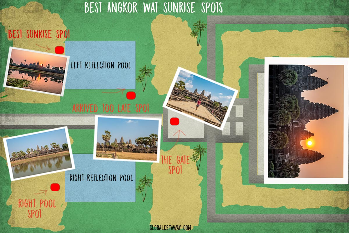 Angkor Wat sunrise spots map
