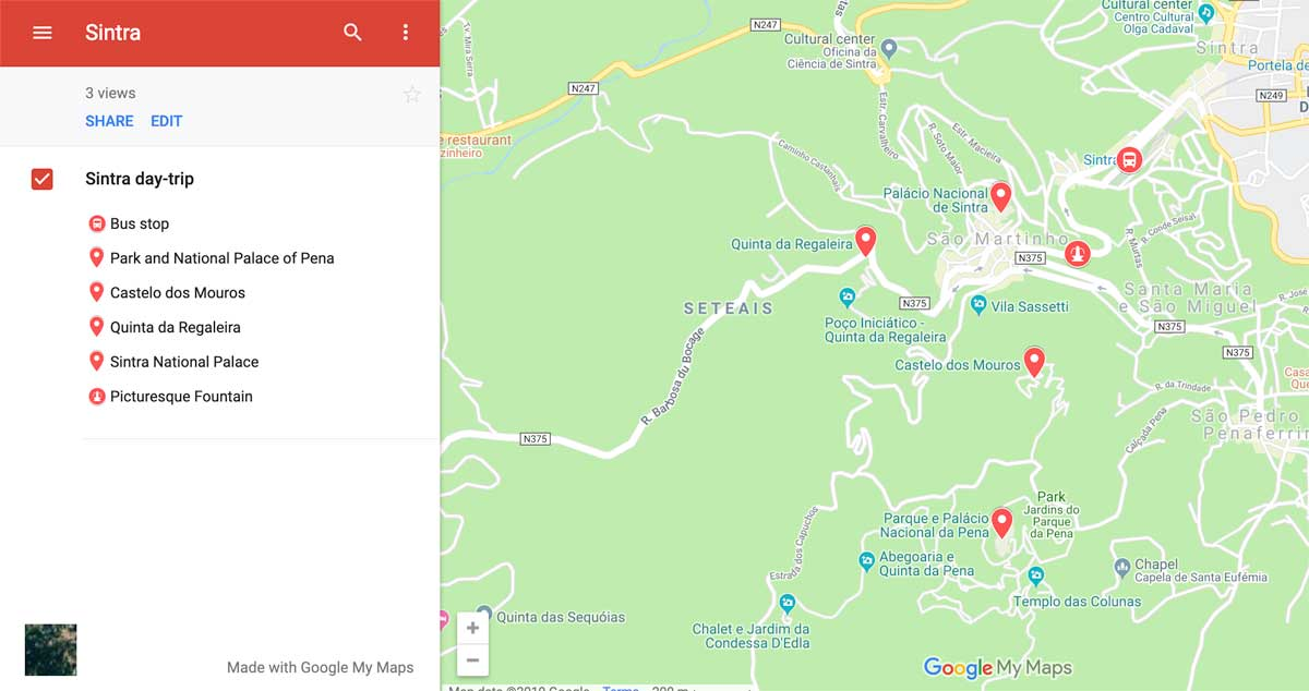 Sintra itinerary map