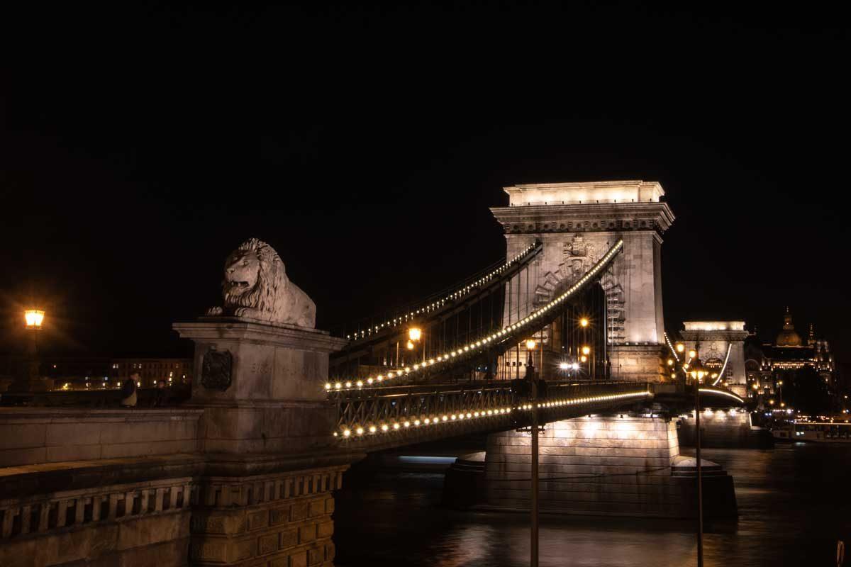 2 day Budapest itinerary - Chain Bridge Lion Guardian