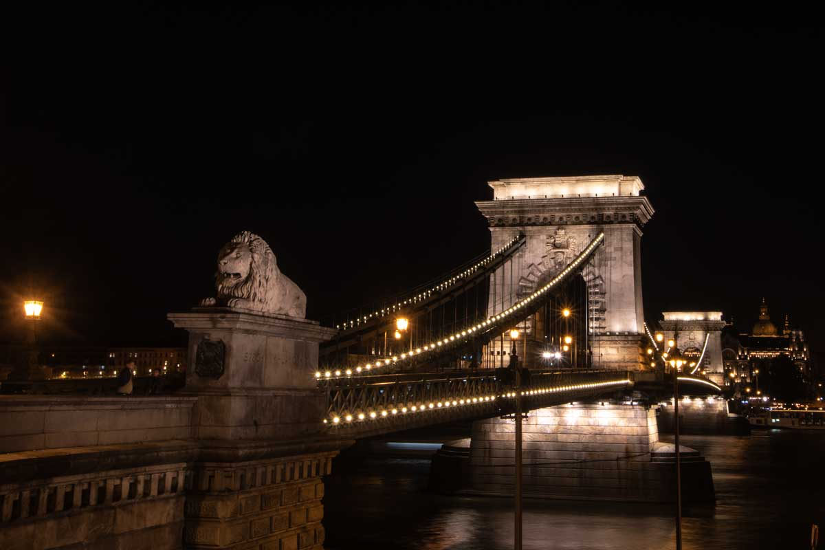2 day Budapest itinerary - Chain Bridge Lion Guardian