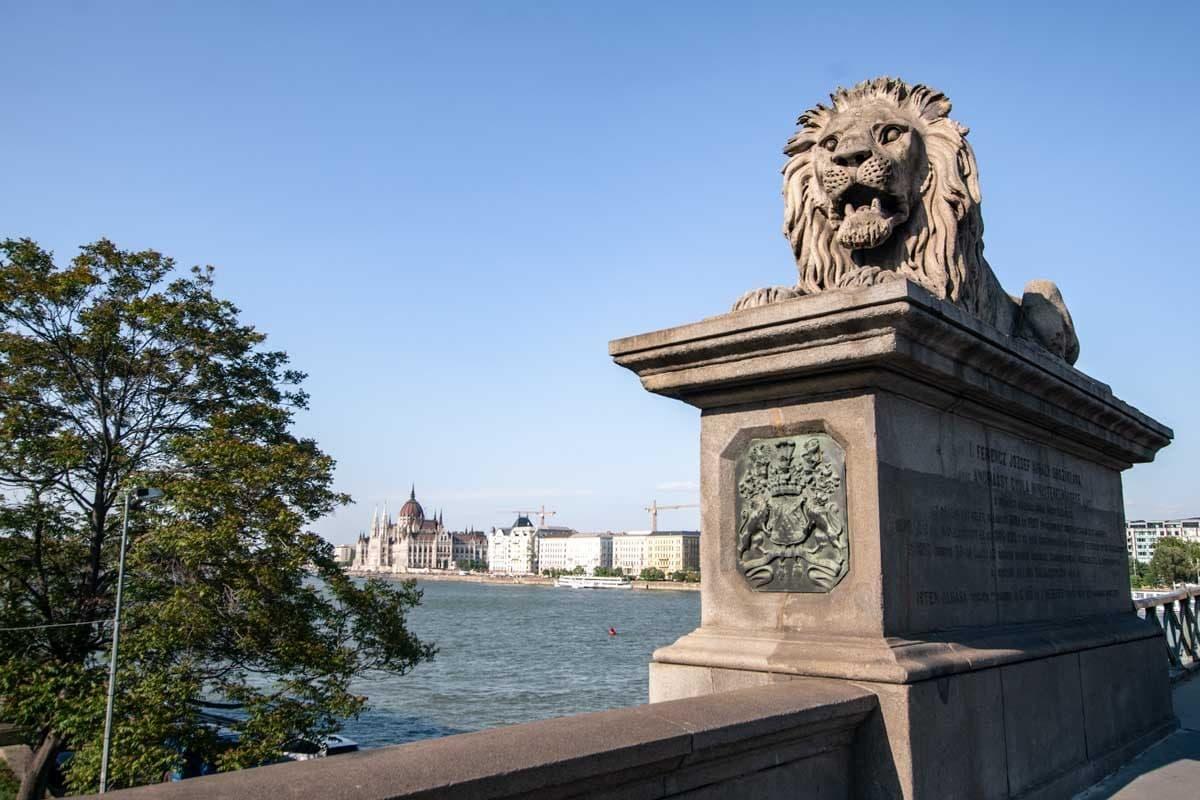 Lions are guarding the bridge
