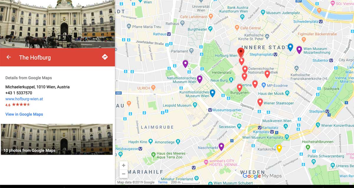 Vienna itinerary map