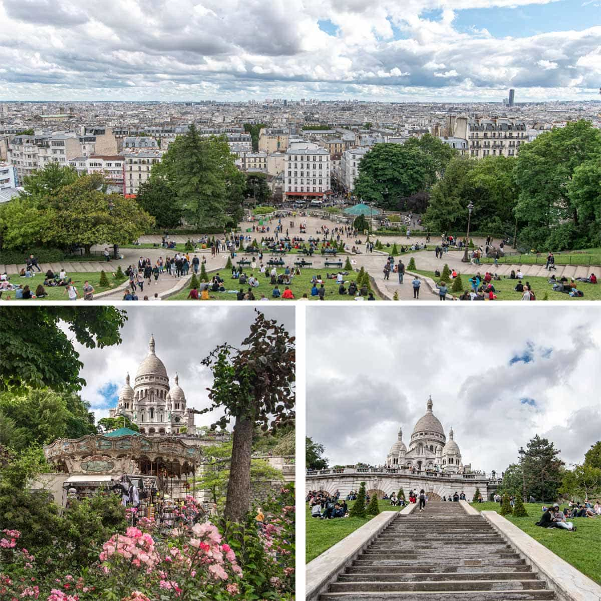 Sacre Coeur Basilica from different viewpoints