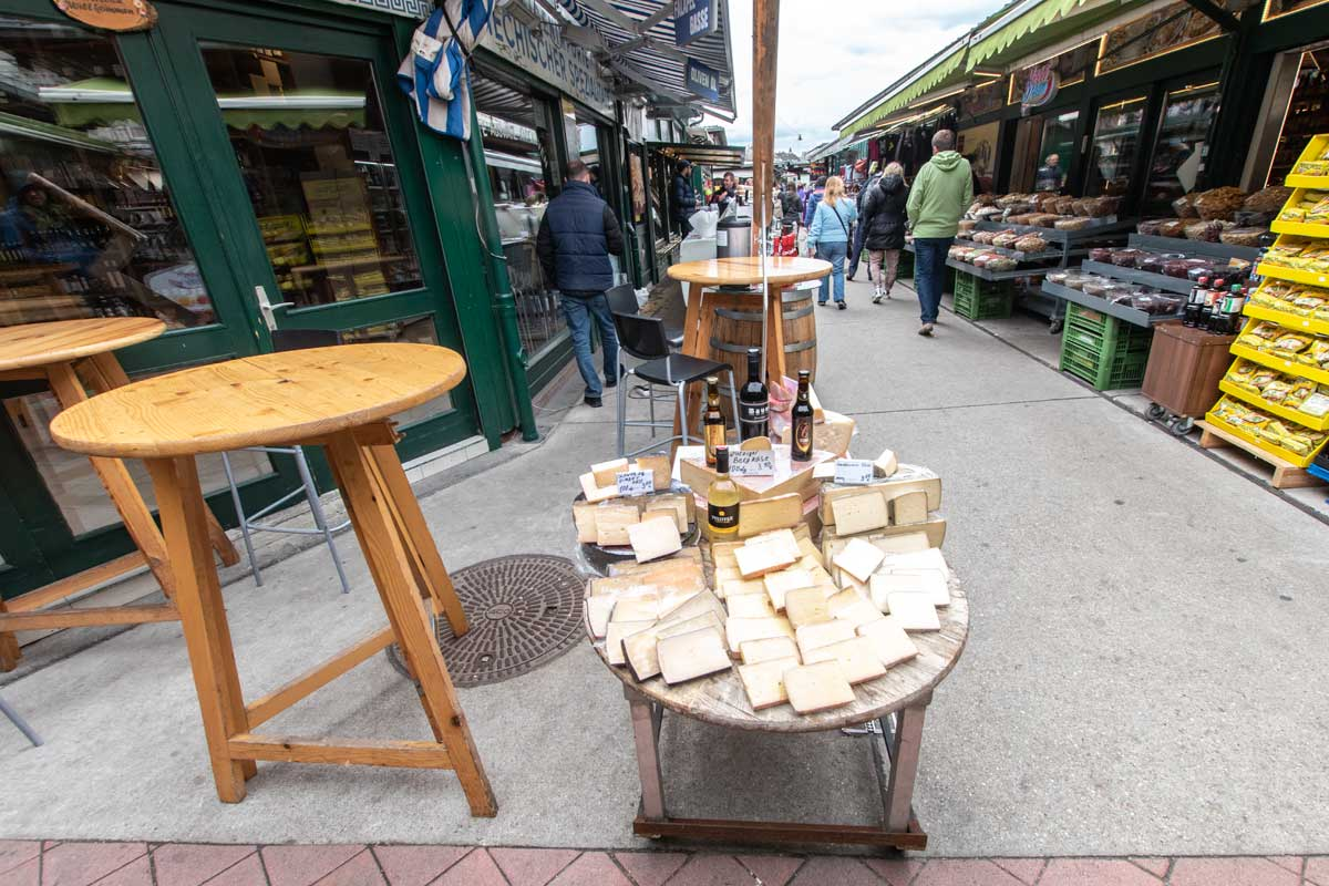 naschmarkt stall with cheese
