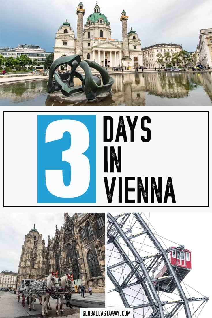 How to spend 3 days in Vienna text on a pinterest friendl photo colage