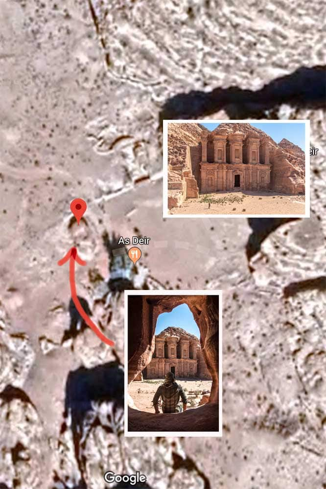 Petra photo map - Monastery cave shot
