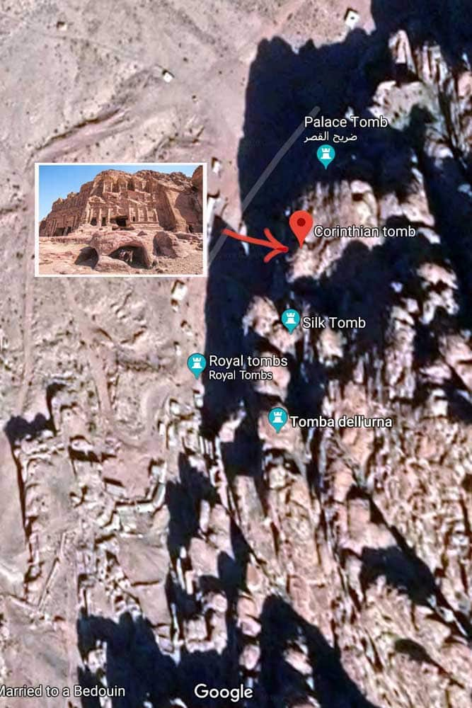 Petra photo map - Corinthian Tomb