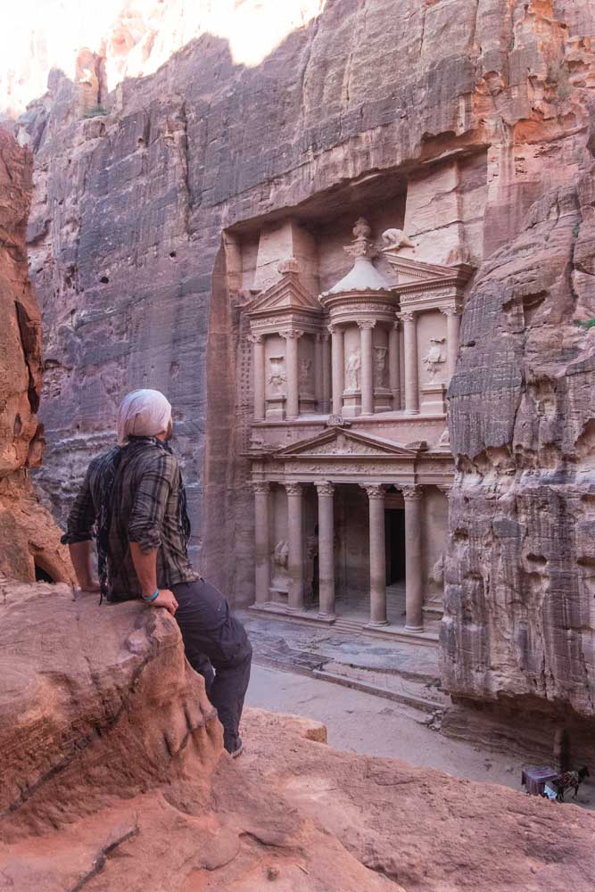 Petra photo guide - an elevated shot of the Treasury