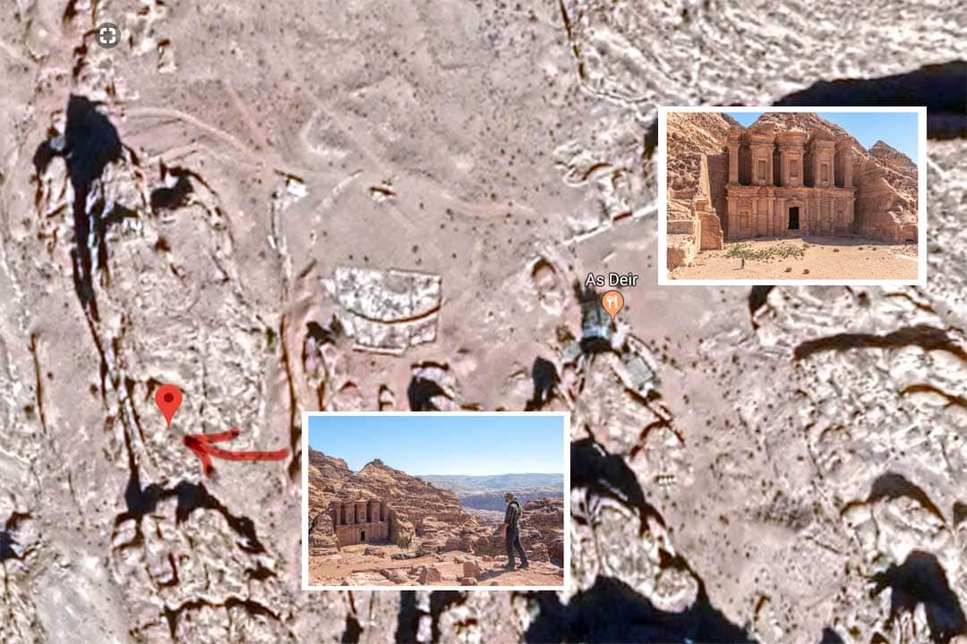 Petra photo map - Monastery hill shot