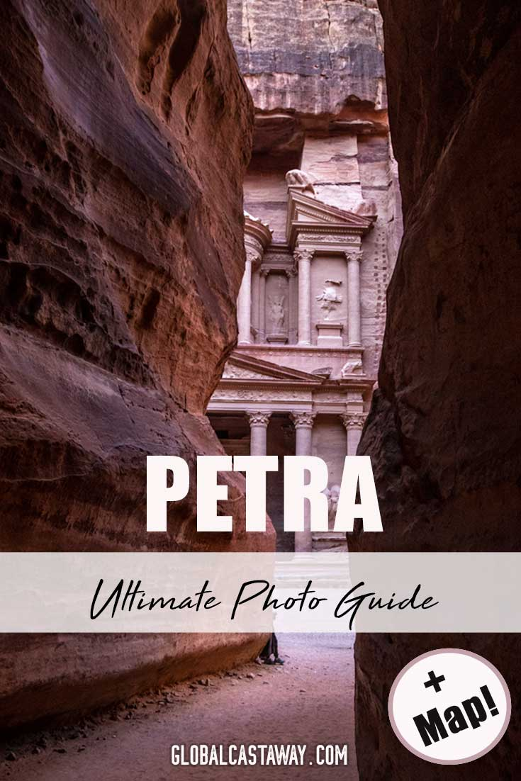 Petra photo guide designed to show you the best photo spots in Petra. Featuring detailed map of Petra and all the best photo spots I'm Petra. #petra #travelpetra #jordan #phototips