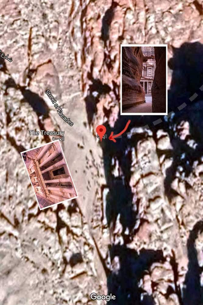 Petra photo map - Siq crack