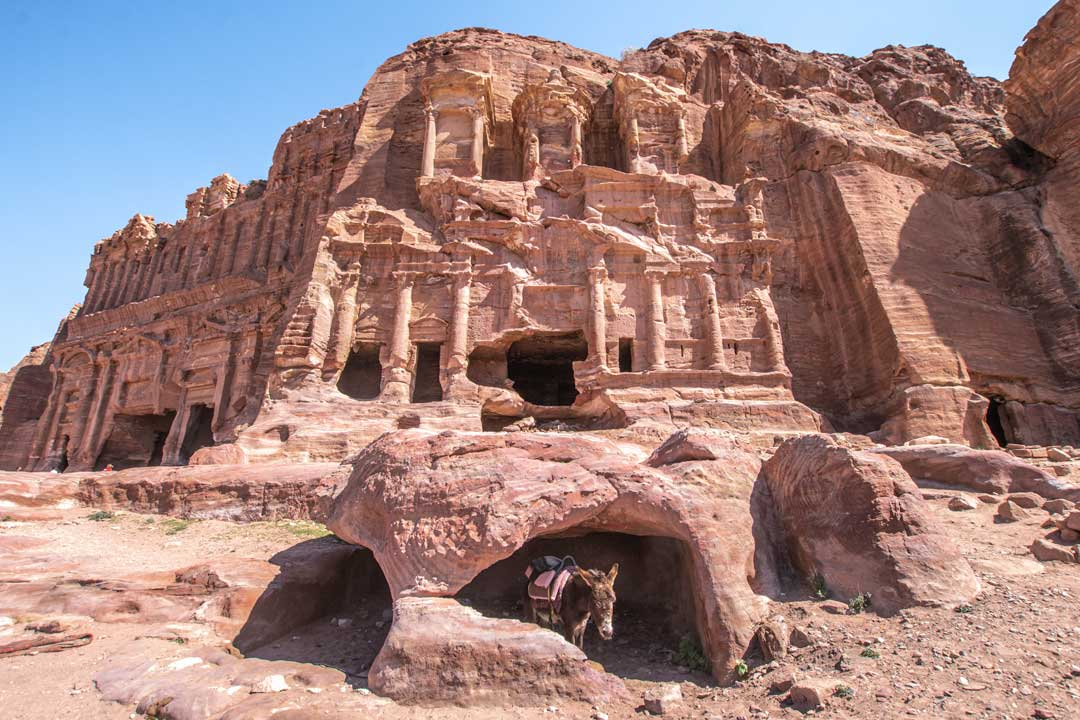 Front shot of the Corinthian Tomb in Petra