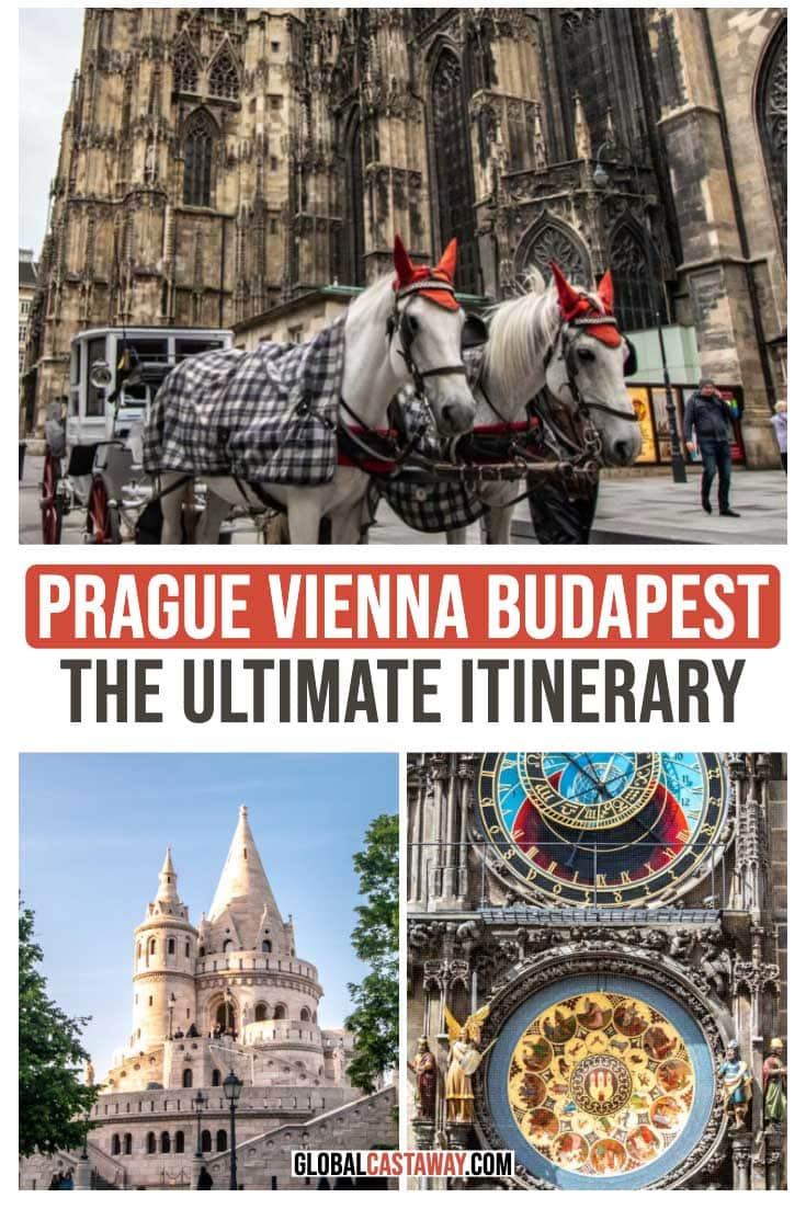 Central Europe travel itinerary guide designed to help you find the best things to do in Central Europe. This self-guided walking tour of Central Europe would guide you through Prague Vienna and Budapest's highlights. Many Central Europe travel tips to help you plan your centra; Europe vacation! #traveleurope #prague #vienna #budapest #globalcastaway