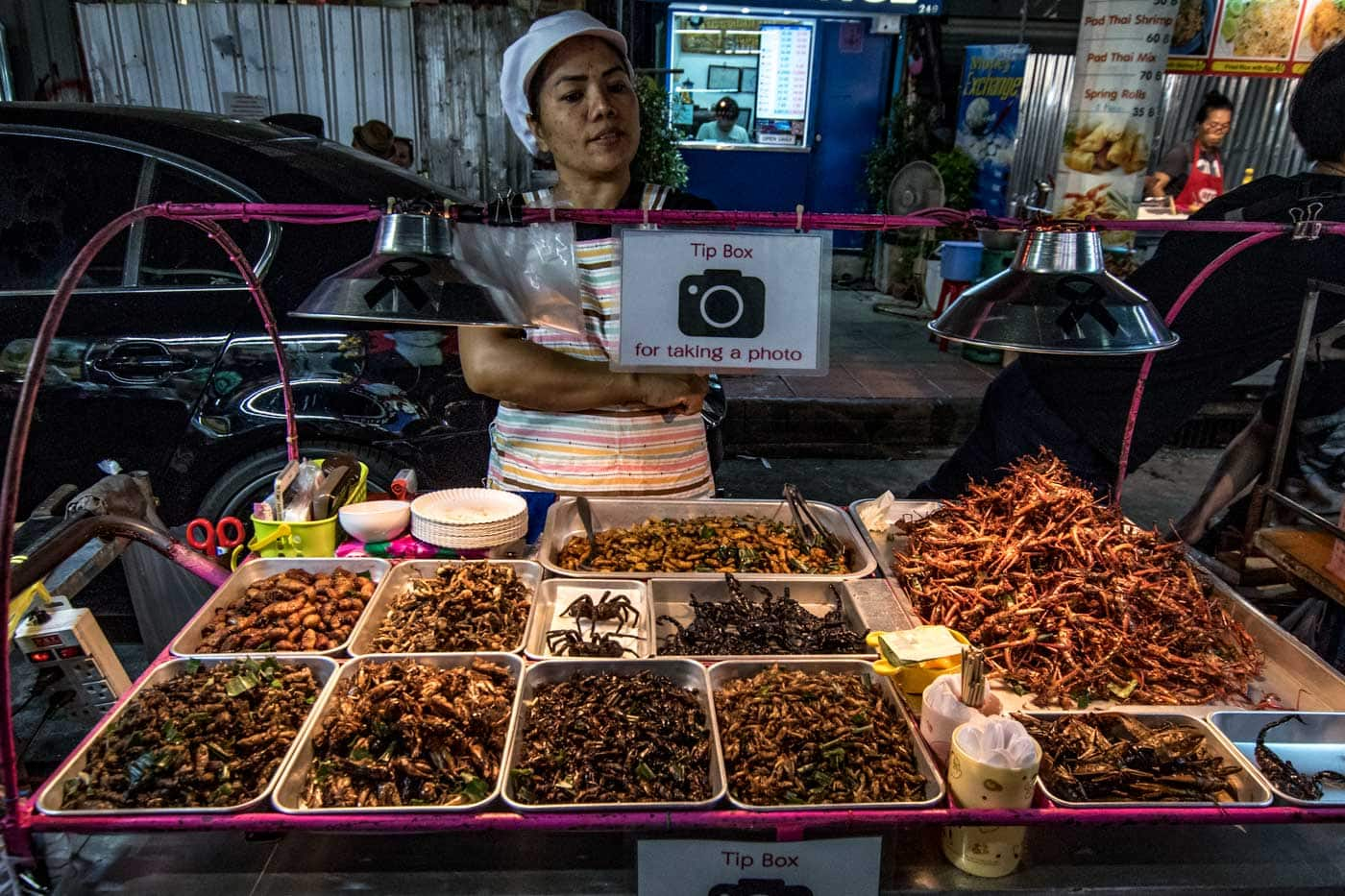 bangkok stall with insects