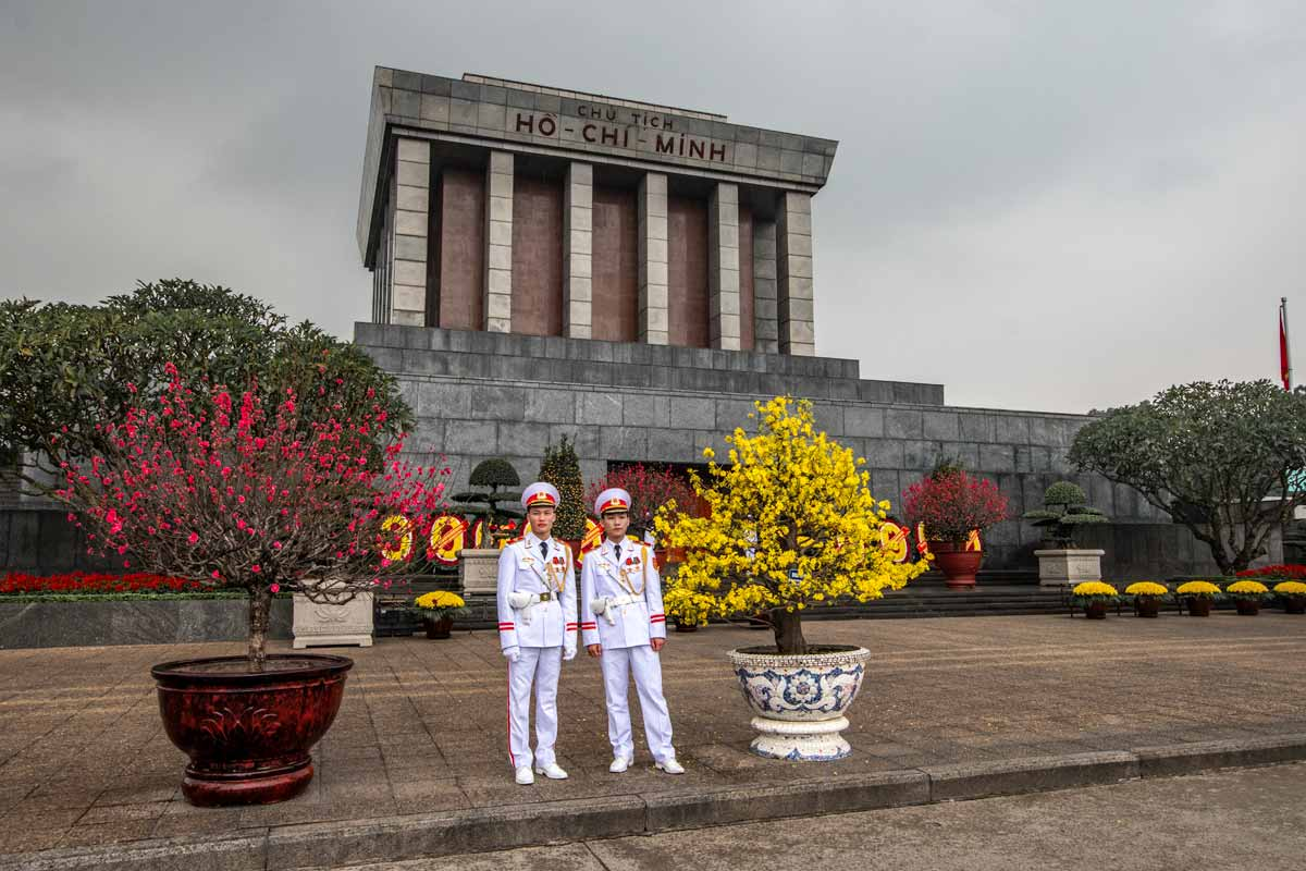 guards in front of the mausoleum of Ho Chi Min