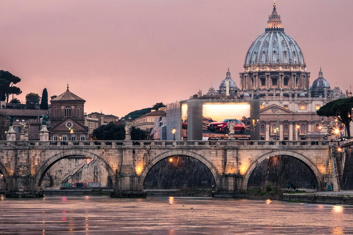sunset-over-rome bridge and st peters dome