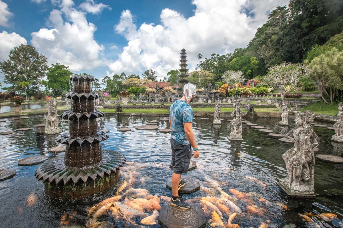 bali bucket list - man staying on a plate ina a pool full of orange fishes