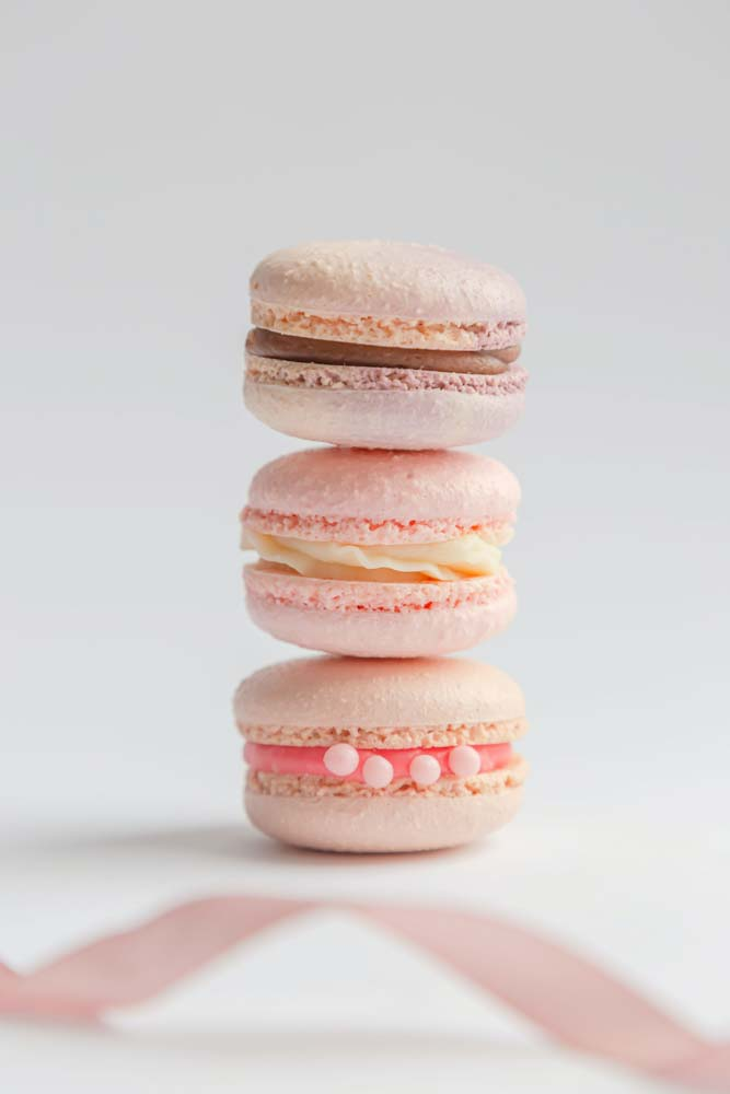 close-up-of-pink-macarons