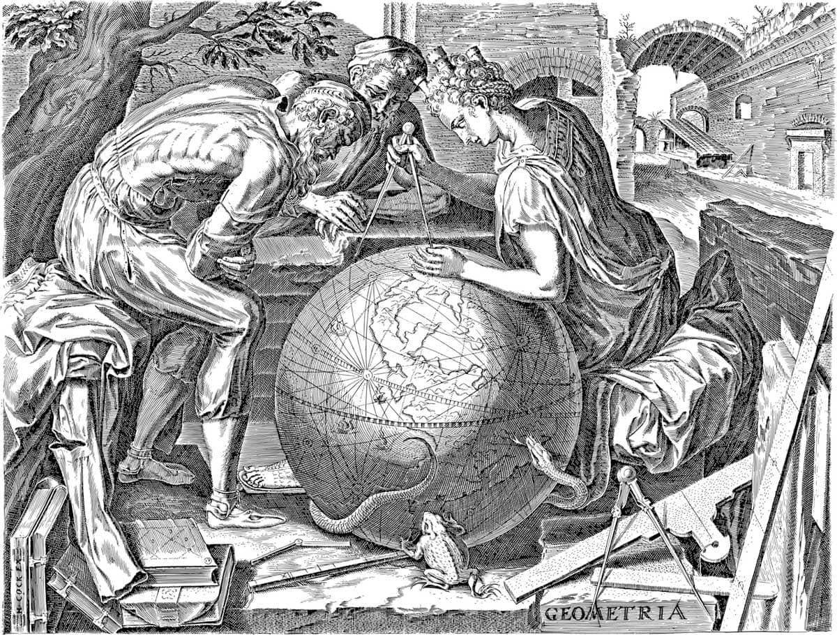drawing-of-three-greeks-inventing-geometry
