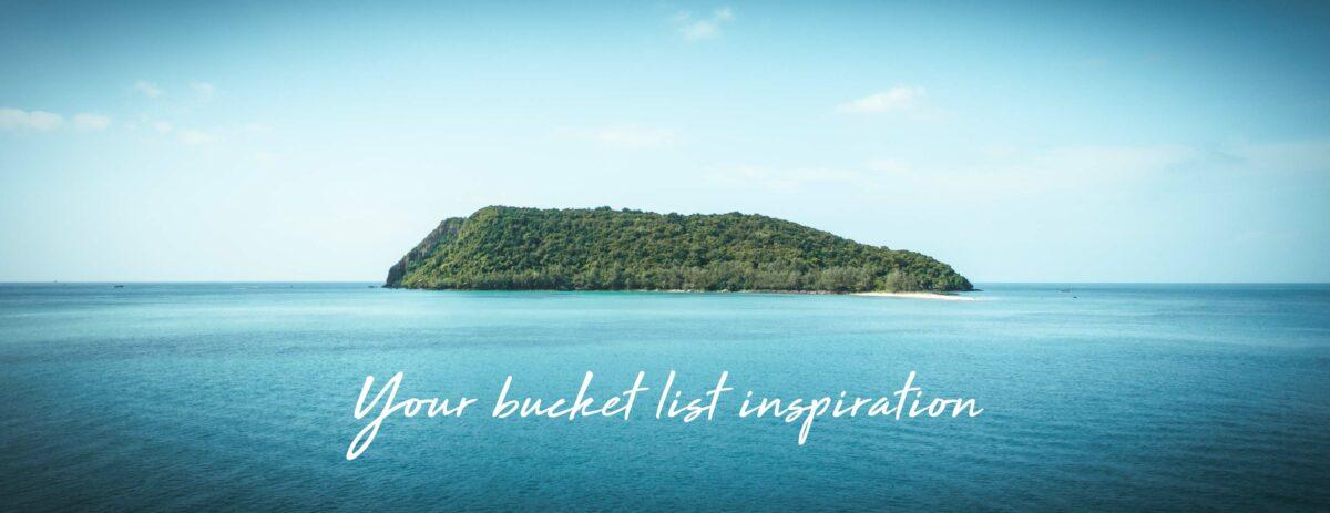tropical island with global castaway slogan